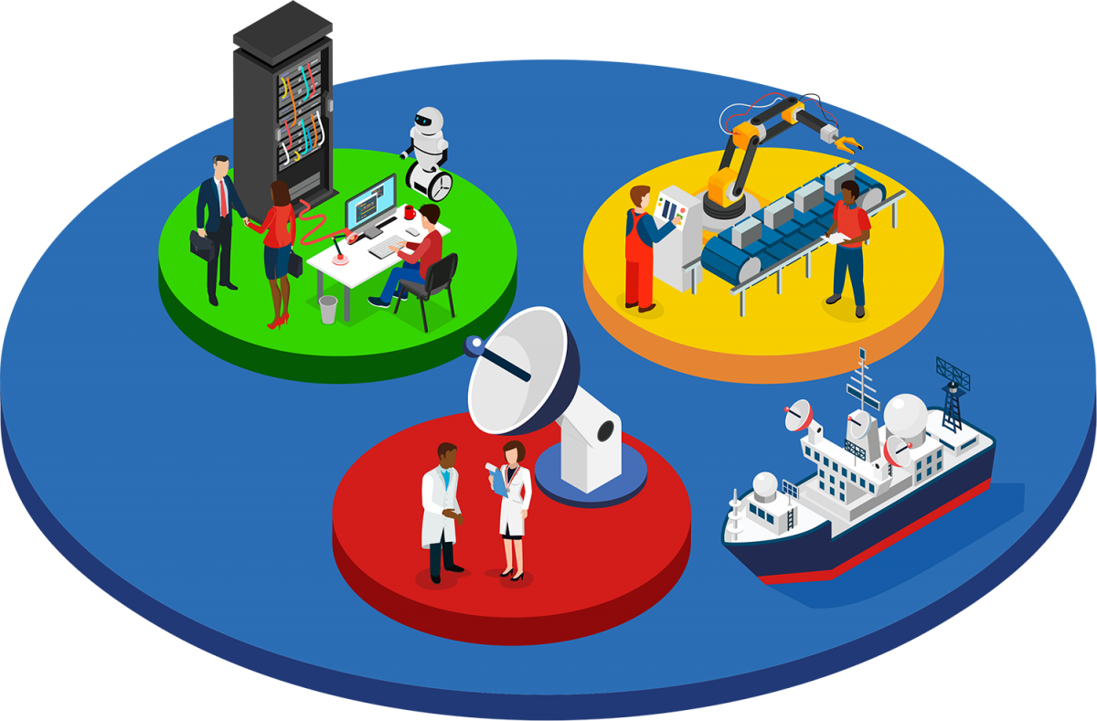 Digital icon of people working in different industries