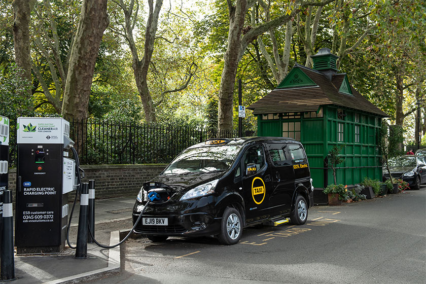 Image of electric taxi on charge