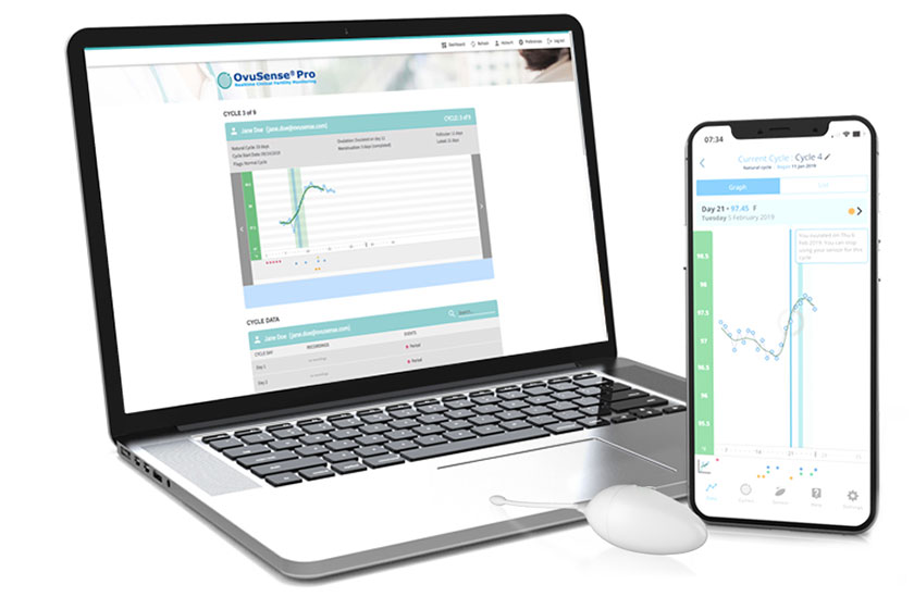 depicts fertility app on laptop and mobile devices