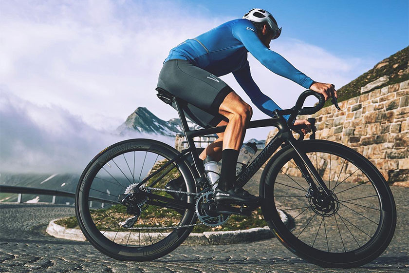 Cycling wearing Velobici apparel